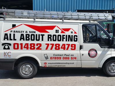 Van Side Graphics (All About Roofing)