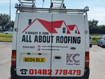 Van Rear Graphics (All About Roofing)