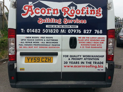 Van Rear Graphics (Acorn Roofing)